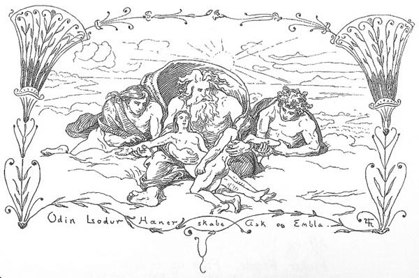 Odin  Lodur  Hoenir skabe Ask og Embla by Froelich